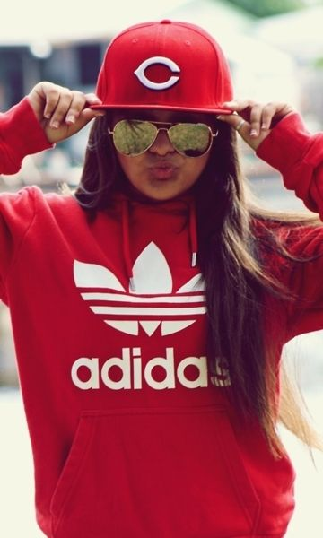 adidas hoodie, hats, sunglasses, clothes....love all except the duckface and sorry, no snapbacks!!
