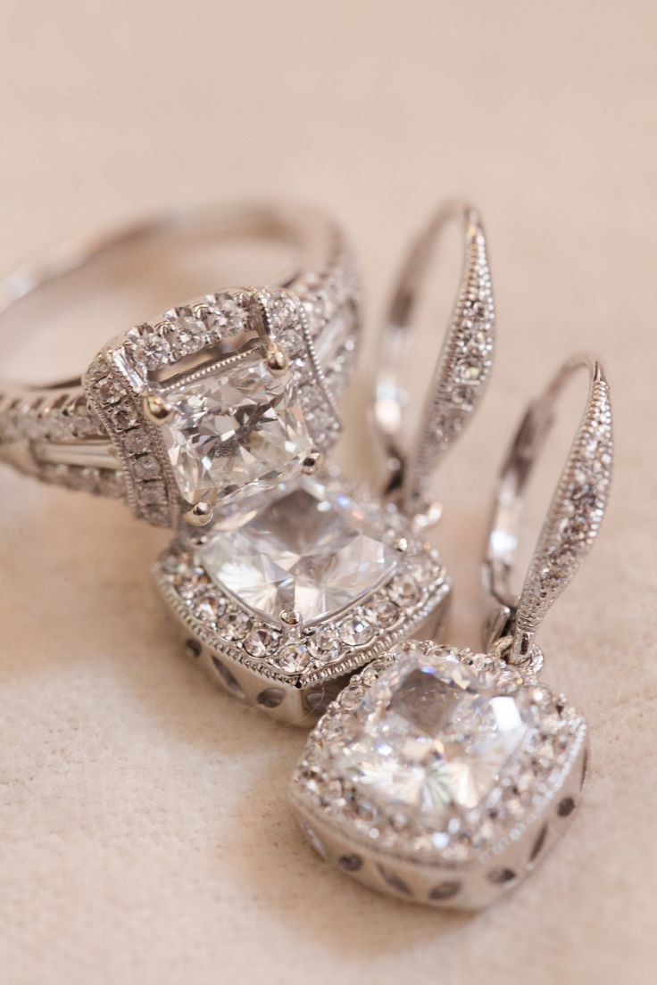 Engagement Rings and #Earrings   See the wedding on SMP: http://www.StyleMePretty.com/massachusetts-weddings/2014/01/24/newport-wedding-at-the-regatta-place/ Deborah Zoe Photography