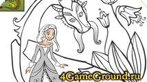 Игра Принцесса и Дракон - Раскрась Принцессу и ее сказочного Дракона! -> Играйте бесплатно и без регистрации.
