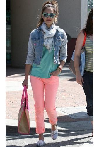 Eva Longoria's AG Denim Stilt Jean In Neon Orange by AG Denim-Adriano Goldschmied