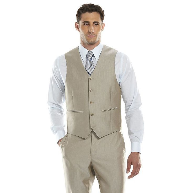 Men's Savile Row Modern-Fit Tan Herringbone Suit Vest, Size: Medium, Beig/Green (Beig/Khaki)