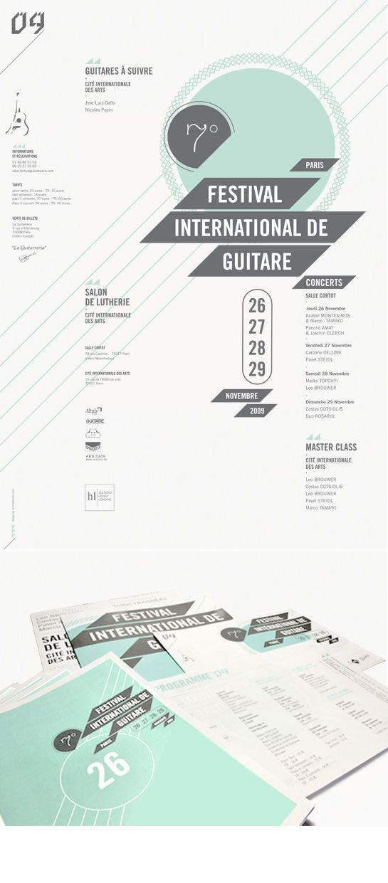 Work, Festival International de Guitare : Stoëmp - graphic design studio- This poster has a beautiful layout. The designer effectively uses a grid structure to create organization for a less structures design. At first, the shapes seem abstract. Then I realize that they allude to string instruments.