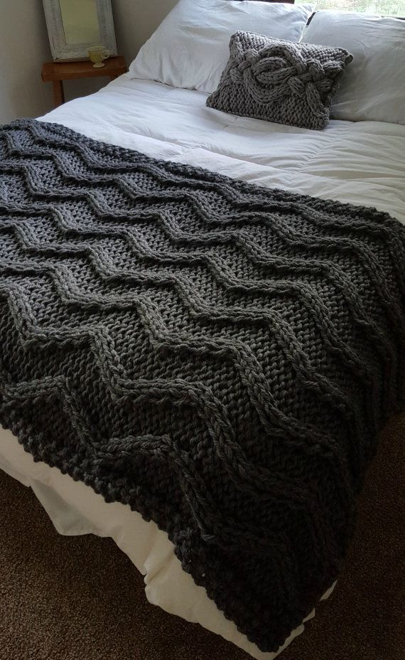 Chevron Cable Knit Blanket PATTERN by OzarksMomma on Etsy