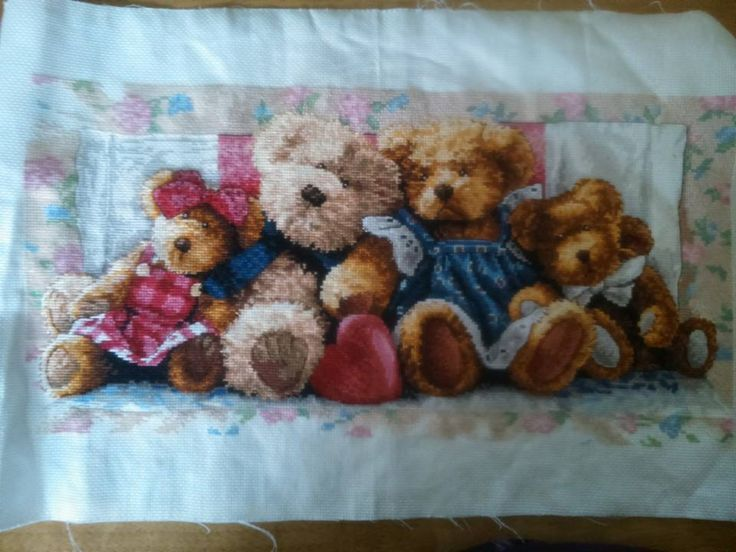 i have just finished stitching this amazing pattern! loved how the teddies came to life the more colours i added to it! a beautiful piece. stitched by Tulipacious Designs.