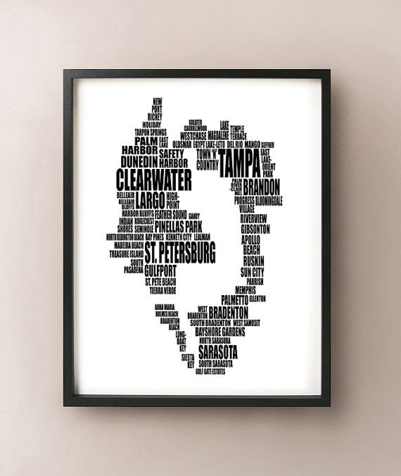 Tampa Bay Area Typography Map Florida Text Art by CartoCreative