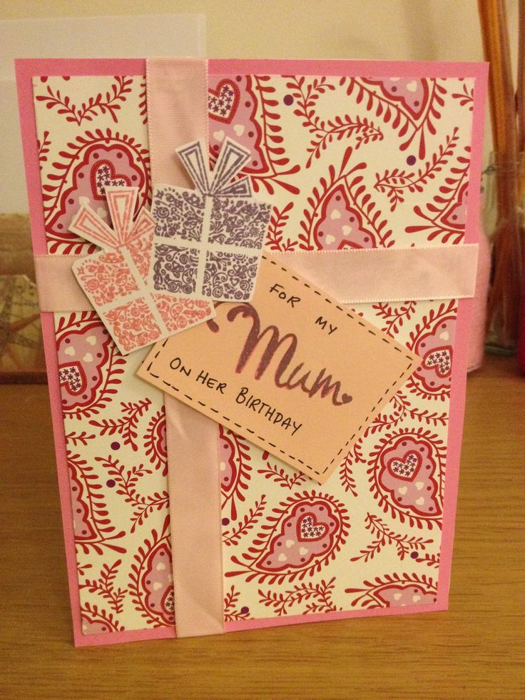 Birthday card. Ribbon, stamps, colourful paper. Pink card. Card for mum. Mums birthday. Paisley card.