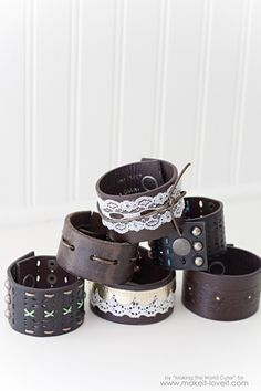 DIY Leather Cuffs...from old belts!   via Make It and Love It