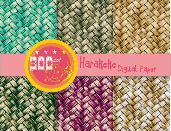 Weave digital paper burlap wicker 'harakeke' basket by GemmedSnail, $2.40