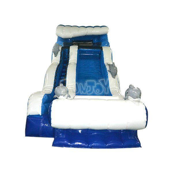 18FT big wave with dolphins surfing inflatable water slide for sale, commercial quality inflatables supplied by sunjoy.