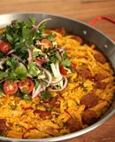Chicken Paella recipe/video from MacGregor Mann at Amada restaurant in Philadelphia from Sous Chef Series Presented by Tasting Table and Williams-Sonoma