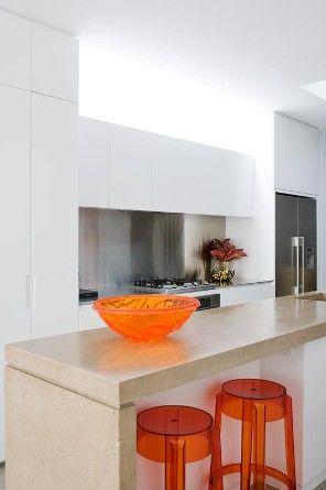T01 Architecture - Projects - Paddington orange ghost bar stools breakfast bar kitchen
