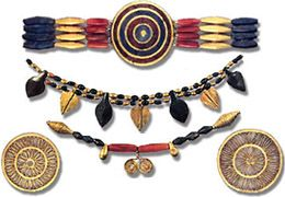 This jewelry depicts the kind of style that was popular in ancient Mesopotamia.  The rosette is used in the pieces on the lower left and right.  This motif was used fairly often in Mesopotamian designs.  White, red and blue  were some of the common color patterns used in Mesopotamian designs.