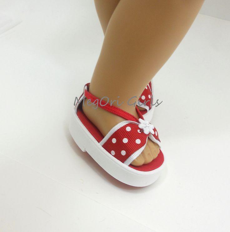 American Girl куклы сандалии красный и белый полька по MegOrisDolls