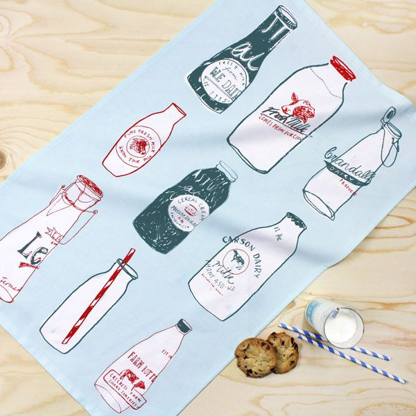 Fresh Milk tea towel by Hannah Whittall - the ToDryFor design competition winner 2014