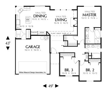 Traditional 3 Bedroom Plan. Plan 1135 The Patmore is a 1467 SqFt Ranch, Traditional style home plan featuring and Skylights by Alan Mascord Design Associates. View our entire house plan collection on Houseplans.co.