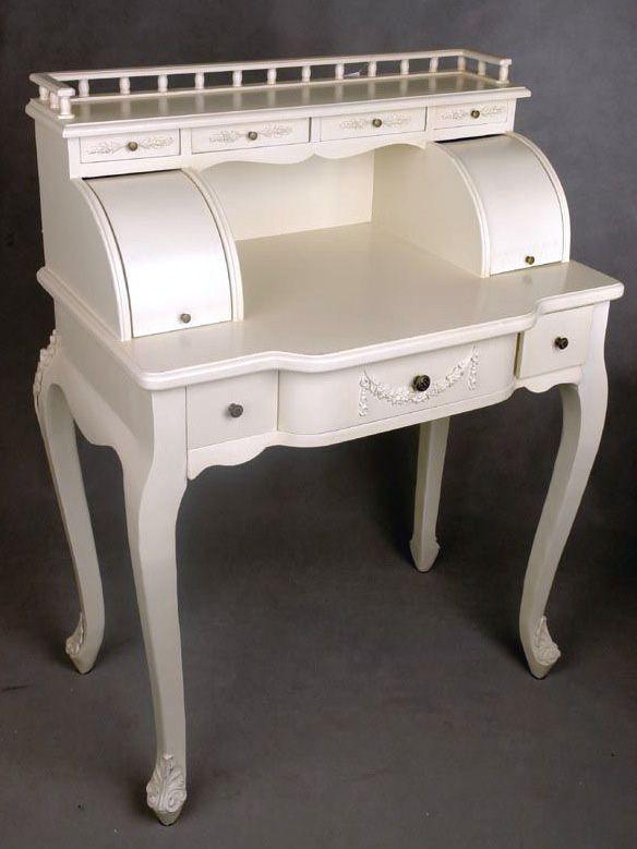 Zzdobiony sekretarzyk z galeryjką w stylu rokoko / Women dressing table with a gallery in the Rococo style