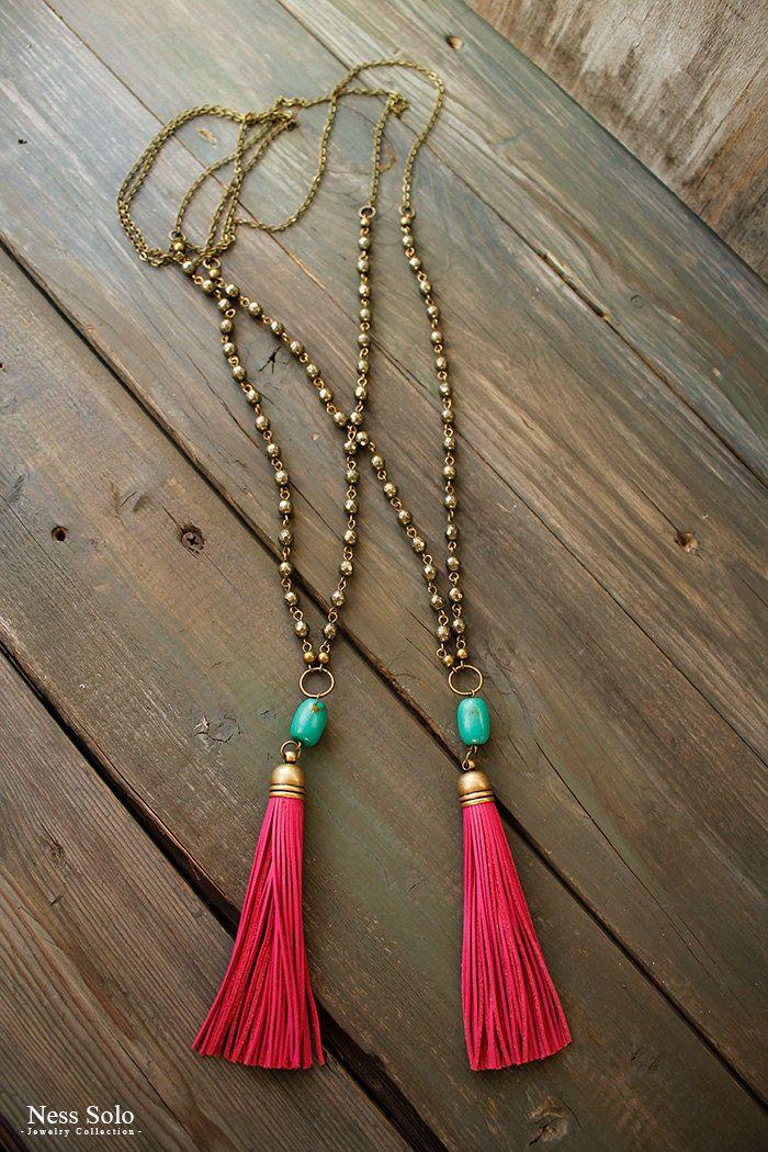 Bohemian beaded necklace Boho tassel necklace by NessSolo