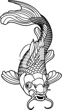iCLIPART - A beautiful koi carp fish illustration in monochrome. Symbol of love, friendship and prosperity