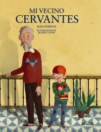 """""""Mi vecino Cervantes"""" de Rosa Huertas Lucas vive en un edificio en el centro de la ciudad. Un día, en clase, ve un retrato en el libro de Lengua de Miguel de Cervantes, el escritor de """"Don Quijote de la Mancha"""", y se da cuenta de que su vecino del segundo se parece mucho a él. En realidad, son iguales: la misma frente despejada, las mismas orejas grandes, la barba blanca, la cara alargada... Además, también se llama Miguel.  DE 9 A 11 AÑOS Signatura: V ANA"""