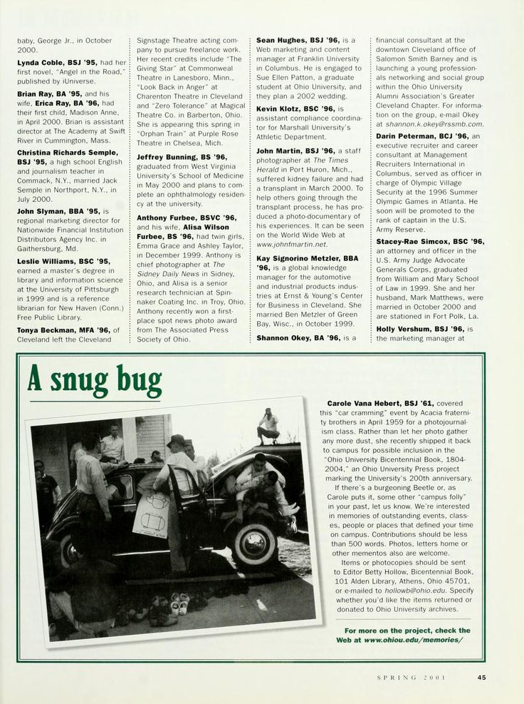 """Ohio Today, Spring 2001. """"Carole Vana Hebert, BSJ '61, covered this 'car cramming' event by Acacia fraternity brothers in April 1959 for a photojournalism class."""" :: Ohio University Archives"""