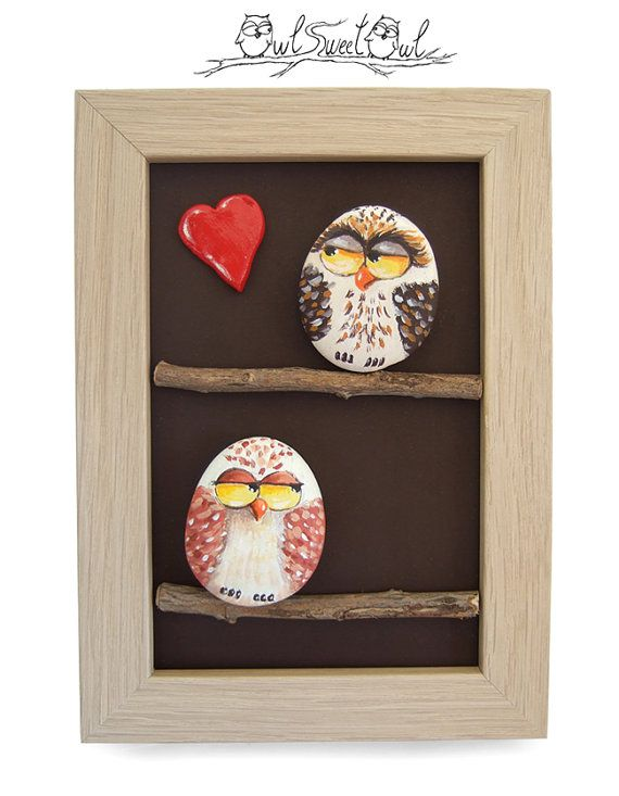 Unique Handmade 3-D Artwork with Owls in Love  by owlsweetowl