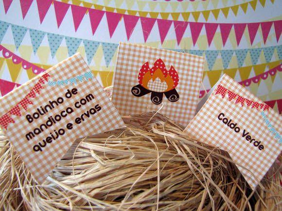 Placas de identificação Kit Festa junina   Design Festeiro