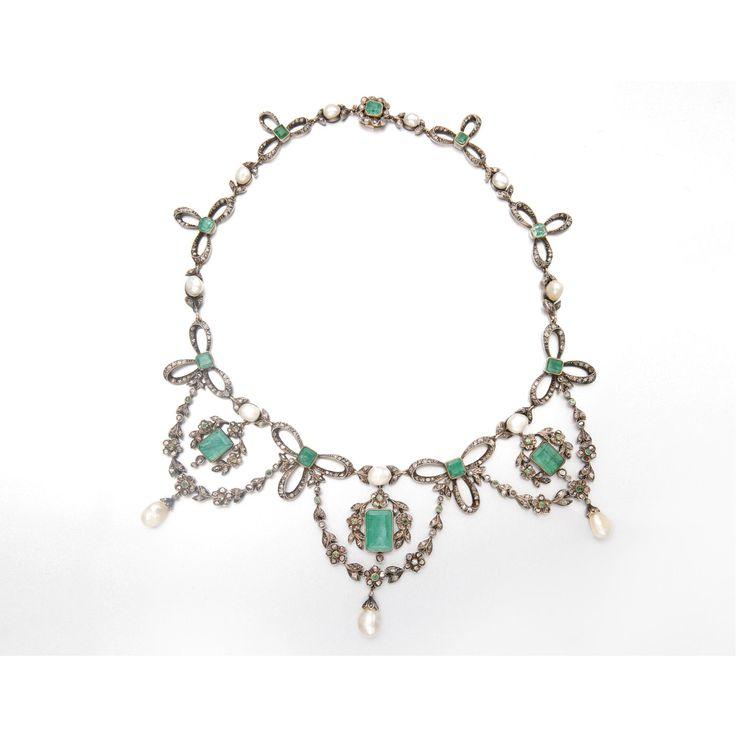 GOLD, SILVER, EMERALD, BAROQUE PEARL AND DIAMOND TIARA / NECKLACE, CIRCA 1880