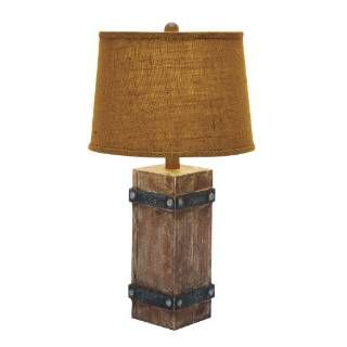 Check out the Woodland Imports 85985 Classy Wooden Table Lamp with Beautiful Shade Design