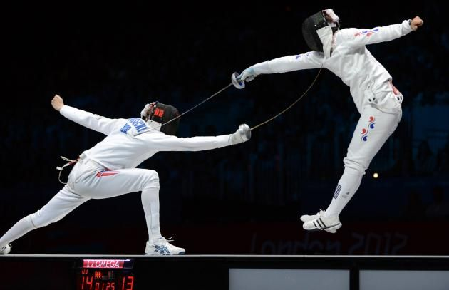 Fencing is a sport in which you and an opponent are trying to score points on each other to win. Description from psychlopedia.wikispaces.com. I searched for this on bing.com/images