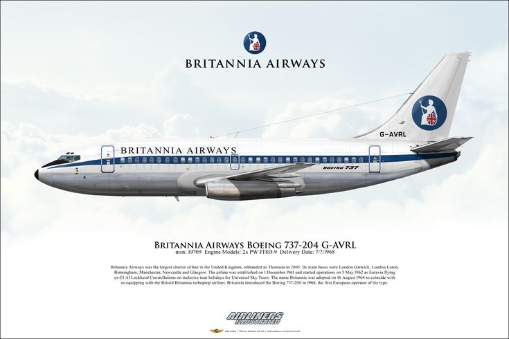 Britannia Airways Boeing 737-204 G-AVRL Airliner Profile Art