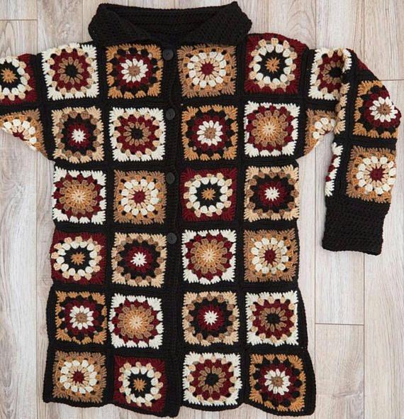 Abuela plazas chaqueta de punto/ganchillo chaqueta/crochet capa/freeform cardigan/hippie boho festival/suéter hecho a mano chaqueta de punto/ganchillo chaqueta de las mujeres ****************** ¡La abuela Rebeca cuadrado! Algo único y colores en oferta!!! Es una oportunidad para