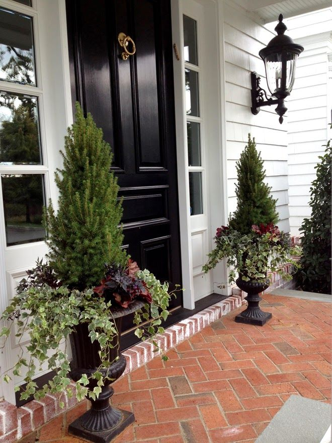 A few final pictures of some of the autumn container plantings we did this season.   We picked out new triple ball topiaries for these front...