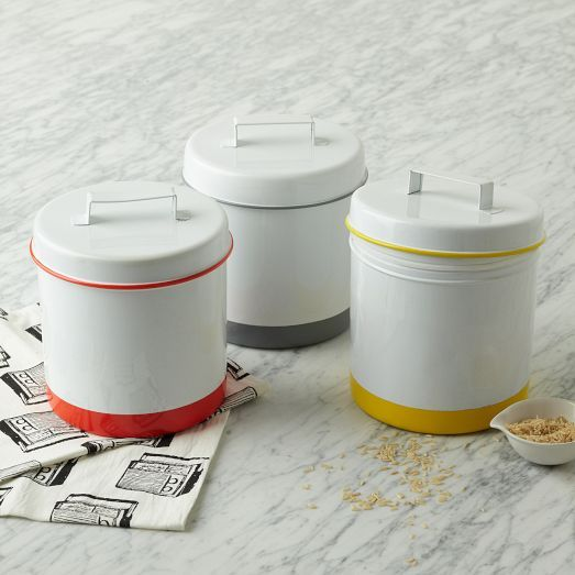 Enamel Canister Striped From West Elm Perfect For Bulk Food Pantry Organization