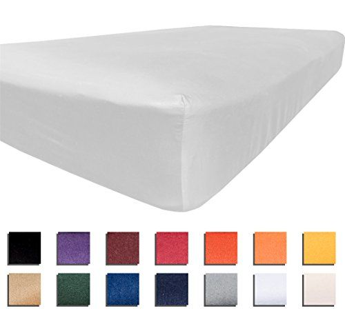 """University College Colors - Mix and Match - Dorm Bedding Separates - Microfiber (Twin XL Fitted Sheet - White)  TWIN XL SIZE FITTED SHEET - 39""""x80"""" with 13"""" deep pocket. Perfect for college dorm mattresses. Elastic all around (not just the corners) Qty 1  DETAILS MATTER - All around elastic makes sheet tight fitting. Perfect construction and double stitching adds durability. Superior breathability and softness. These cannot be sold cheaper without sacrificing quality.  HIGH QUALITY CON..."""