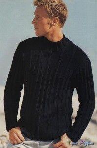 Черный мужской пуловер спицами.