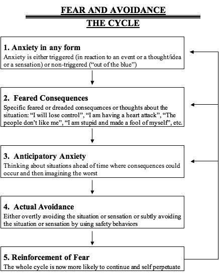 Fear and avoidance cycle - an interesting way to look at CPTSD, although there needs to be more arrows, bigger arrows, colorful arrows, pointed up, down and around.