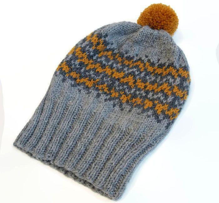 Knit wool hat  / Fair isle women hat / winter accessories / Pom Pom hat / Gray knit hat / Rolled brim hat / Mustard knit hat / Gift for her by PepperKnit on Etsy
