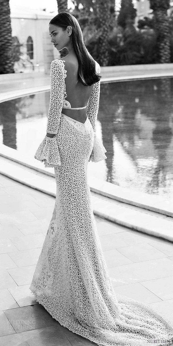 nurit hen 2016 long bell sleeves deep v sheath wedding dress (pw6) bv low back train edgy sexy