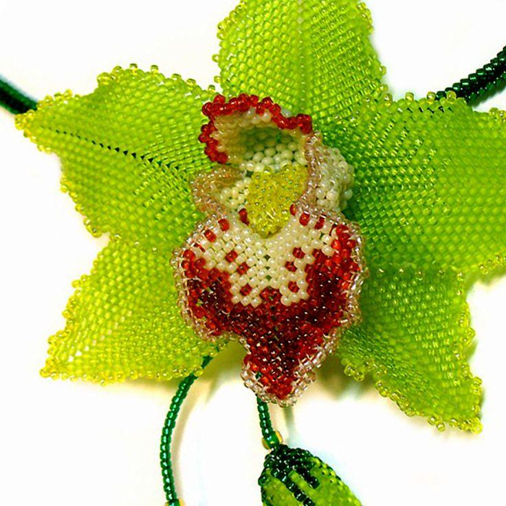 Bead artwork by Julia Turova. Cymbidium Orchid Necklace. Detail