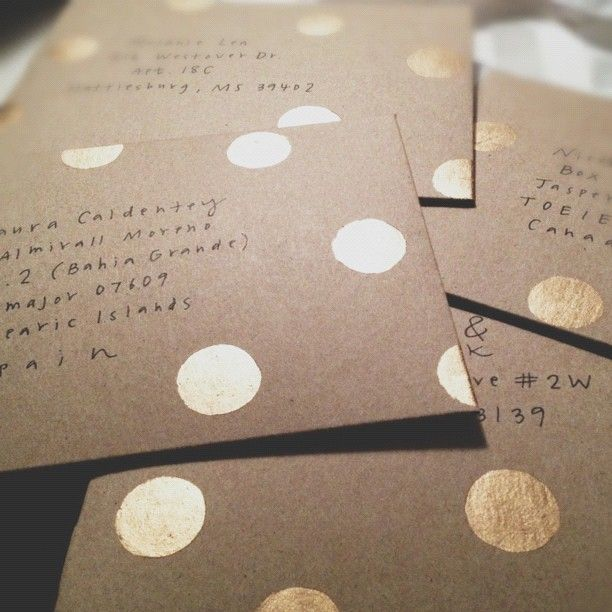 Rustic glam: painted gold dots on craft envelopes