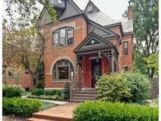 red brick house with black trim - Google Search