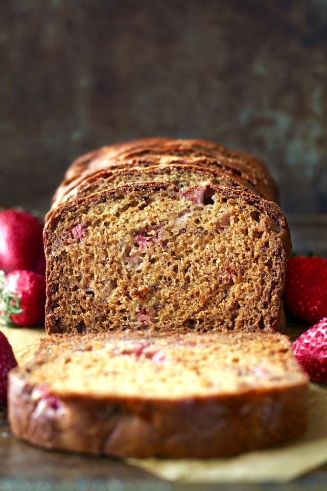 This lightened-up strawberry banana bread is so soft and tender that you'd never be able to tell it was made without butter or oil.