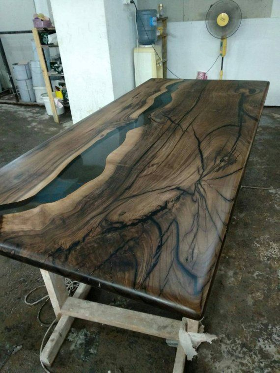 Walnut Epoxy Table, epoxy river table, CUSTOM ORDER for Evan