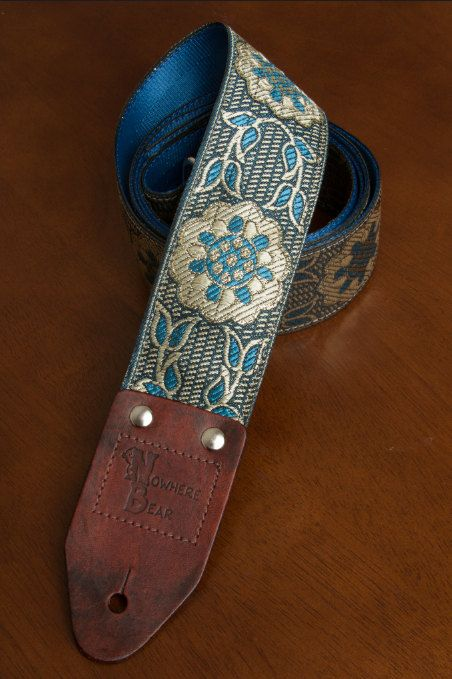 Blue/Silver Vintagestyled Guitar Strap by nowherebearstraps, $55.00
