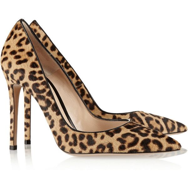 Gianvito Rossi 105 leopard-print calf hair pumps ($855) ❤ liked on Polyvore featuring shoes, pumps, heels, gianvito rossi, leopard print shoes, leopard slip-on shoes, leopard slip on shoes, leopard calf hair pumps and pointed-toe pumps