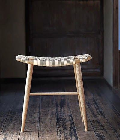wooden stool with woven seat | furniture + home decor