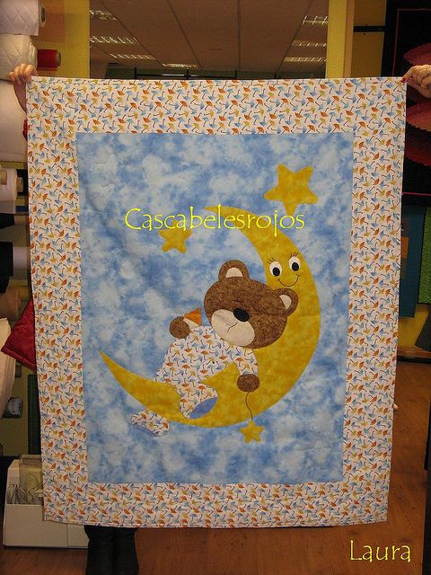 bear and moon baby quilt
