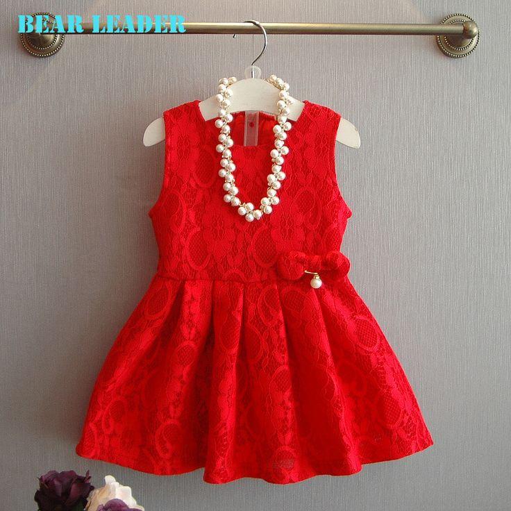 US $12.04 - 12.45 Bear Leader Brand Girls Lace Dress 2016 New Summer Style Party Dress Red Lace Bowknot Sleeveless Dress Girls Princess Dress 3-7Y aliexpress.com