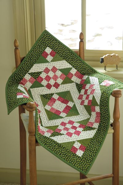 Green, pink and white table topper. Such a nice color combo! http://www.shopmartingale.com/sunny-lanes-quilt-epattern.html