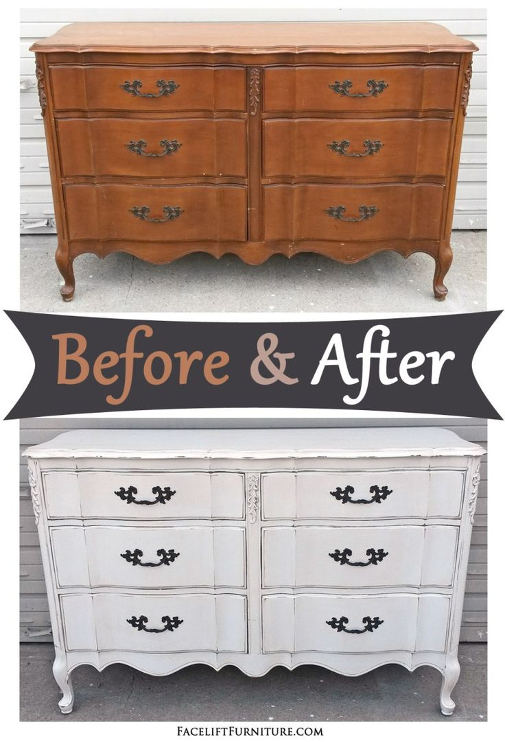 Best Antiqued White French Provincial Dresser – Before After 640 x 480